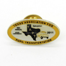 Iron soft enamel TEXAS ASSOCIATION FOR PUPIL TRANSPORTATION badge , metal trading pin , fast delivery time