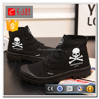 Fashion hand print skull patterns men long canvas shoes