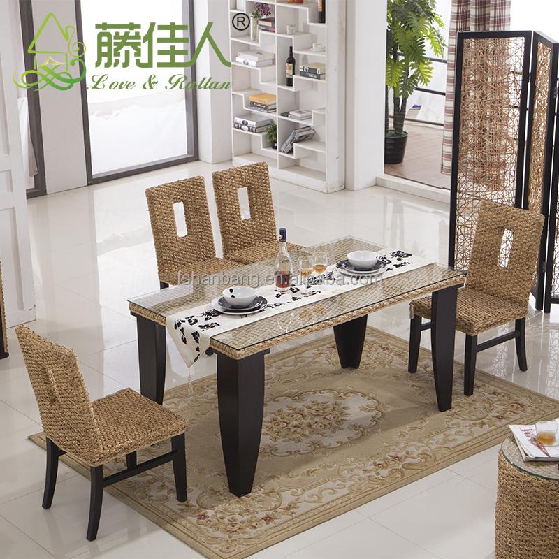 Vogue heavy-duty 6 asiento de mimbre rattan mesa comedor de madera y ...