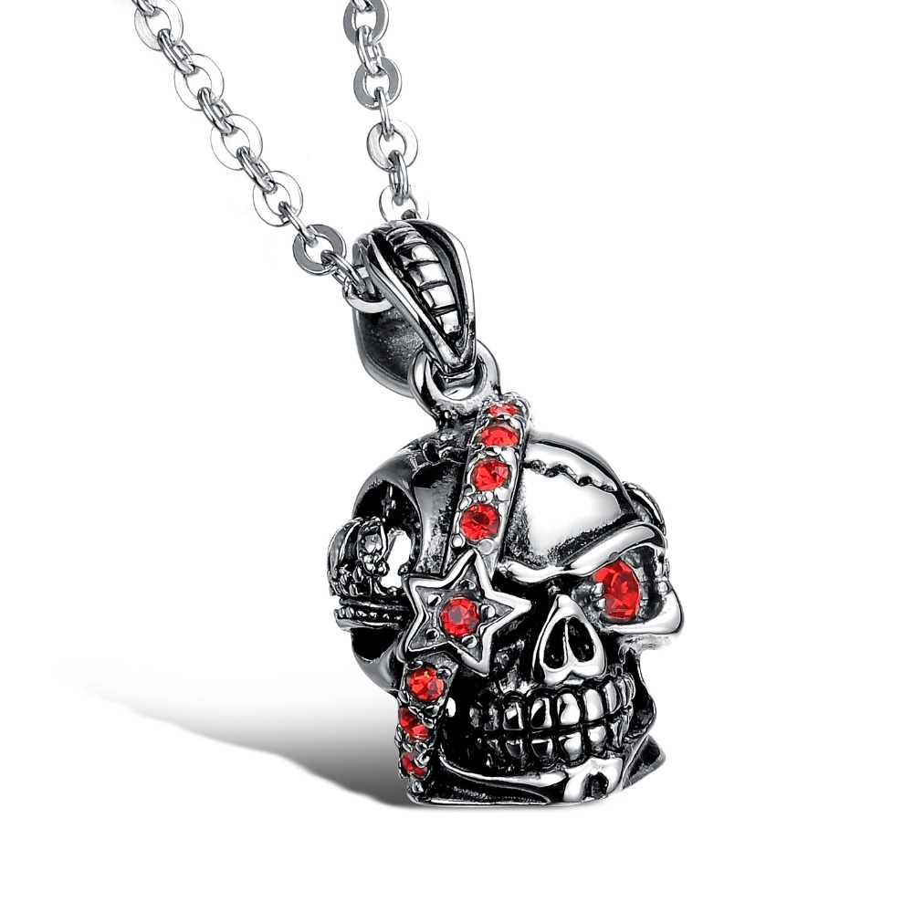 Men Rock Domineering Stainless Steel Skull Pendant