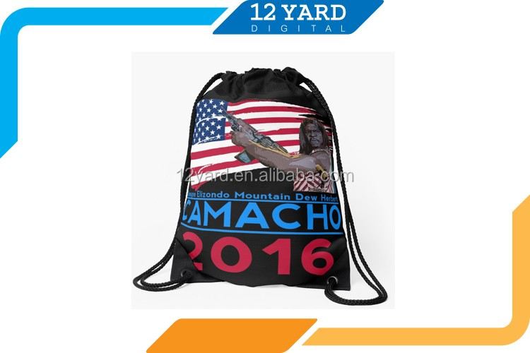 popular Men and women drawstring bag &printed polyester running backpack
