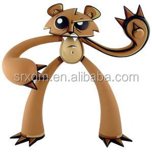 OEM plastic 10 inces brown articulated animal cartoon vinyl toy for child