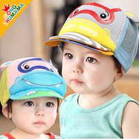 New 2016 Summer Lovely Baby Grid Hippo Peaked Cap Baby Sun Hat Letter Pattern Cotton Mesh Peaked Cap For Boys Girls