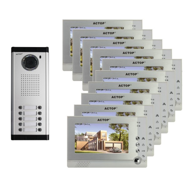 7inch wired video door phone audio and video intercom for apartment multi-apartment home security system