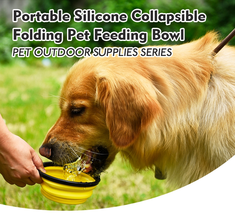 Custom Foldable Silicone Pet Water Bowl Collapsible Travel Dog Bowl