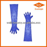 HDPE/LDPE disposable arm length veterinary transparent protective pe gloves for pet using