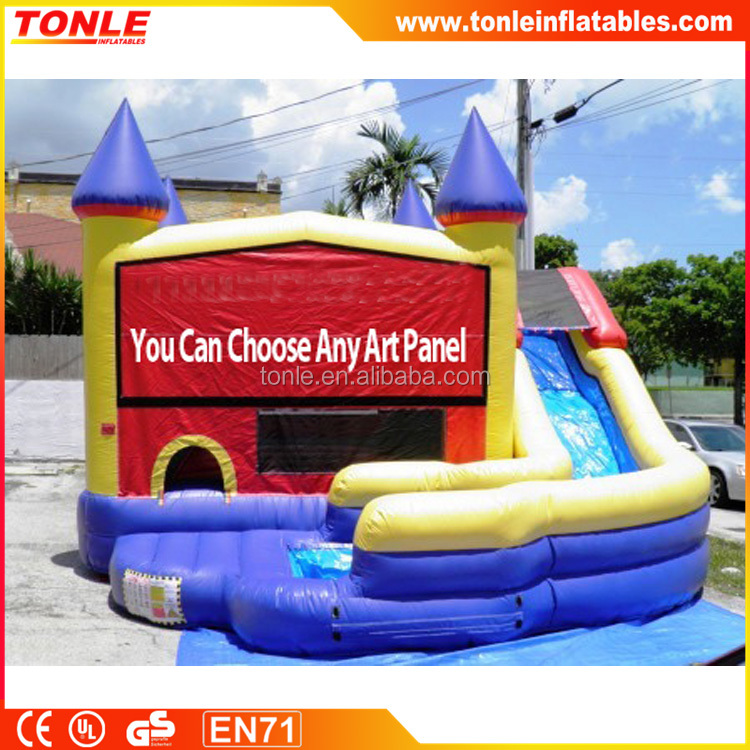 Commercial inflatable Curve Castle Water Slide for sale