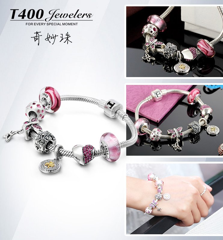 T400 charms new Fashion joyas 925 sterling silver crystal from swarovski elements bead QT061