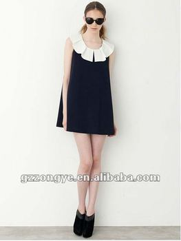 Women a line scalloped collar lady dress