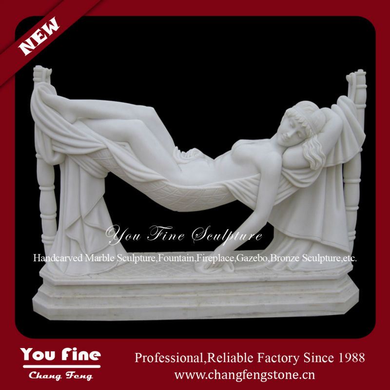 Hand Carved Natural Nude Girl White Marble Statue