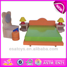 2015 New wooden toy doll bed,popular educational toy doll bed,Wooden colorful children toy doll bed furniture toy WJ276204