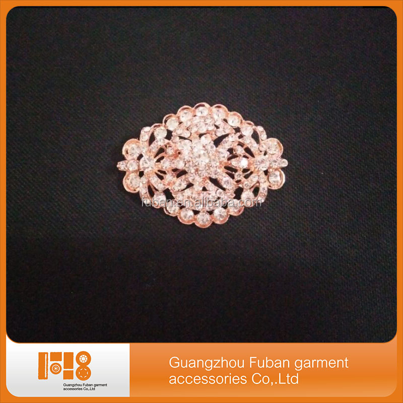 wedding rose gold rhinestone brooch