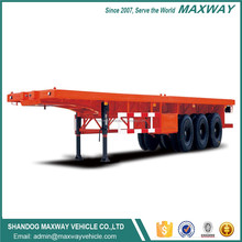 Hot sale double tri axle container flat bed truck semi trailer
