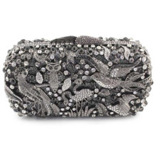 2015 hermosa figura birds patrón ladie cristal clutch purse