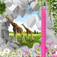 Hot sale animal prints height chart kids wall decals