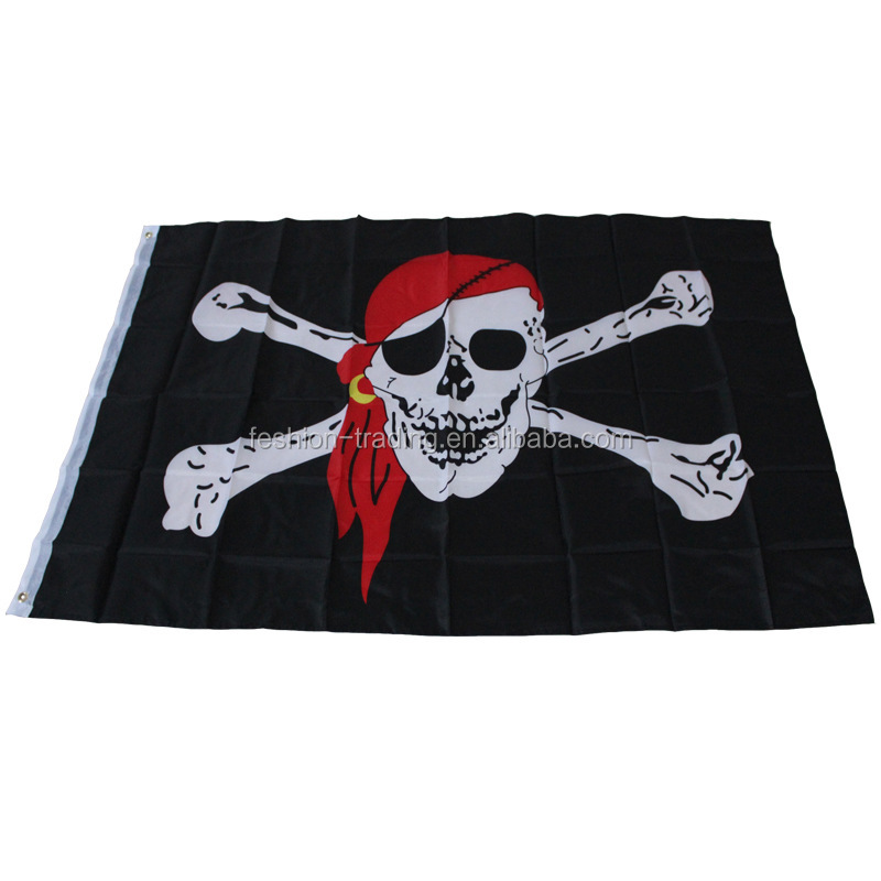 High quality 3*5 fts or custom size jolly roger pirate flag with red hat