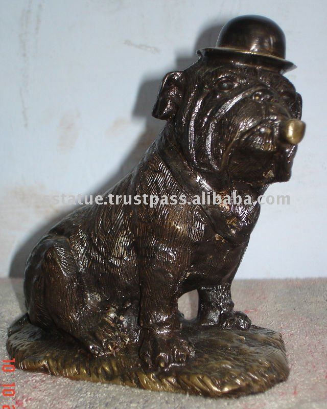 Bronze Sculpture of Sitting dog with Sigar animal figure
