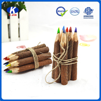 Bulk sale school eco stationery 3.5 inch mini wooden color pencils with high quality