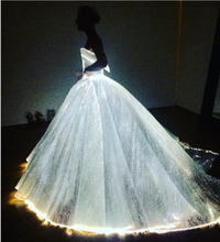 DS008 pictures of latest gowns designs manufacturers sexy dresses for women party magic fiber luminous wedding dress