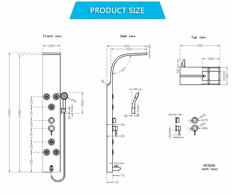 Wholesale Deluxe Design Bath Massage Shower Column Jet Concealed Free Standing Bathroom Shower Panel