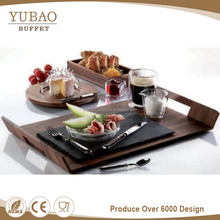 Alibaba rectangle unique cheap wooden wedding cake plate server set with handle