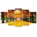 Golden Trees Drawing Giclee Artwork Yellow Leaves Canvas Painting Wholesale Stretched Canvas Prints For Decoration 5 Panels