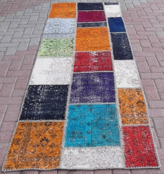 Multi-color PATCHWORK Rug Handmade from OVERDYED Vintage Turkish Carpets, CUSTOM Sizes and Colors