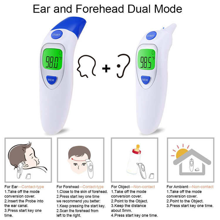 CE FDA Approved Digital LCD Display Baby Custom Design Safety Infrared Forehead Thermometer