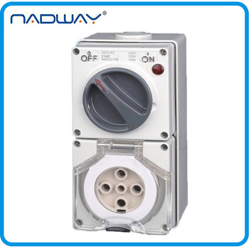 56CV532 New Type IP66 CEE/IEC 32A/500V 5 Poles Industrial Waterpoof Isolating Combination Switch Socket