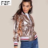 High quality custom fashion lady PU leather metallic zip up rose gold motorcycle jacket