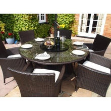 Rattan Outdoor Garden 7 pcs Round Table Dining Set Furniture