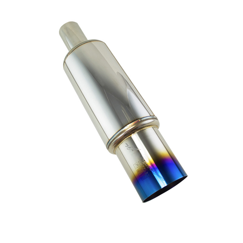 PQY RACING-Inlet: 51mm Outlet: 89mm Universal Stainless Steel Blue Burnt Tip Car Exhaust Muffler Pipe PQY6000
