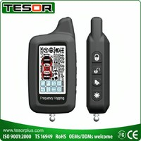 Two way car alarm with 2 way remote engine starter and GSM CANbus dataport