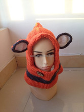 Fox double yarn crochet baby hats in orange color&fashionable style