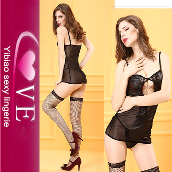 Cheap Satin Sleeping Dress Sexy Black Chemise Babydoll