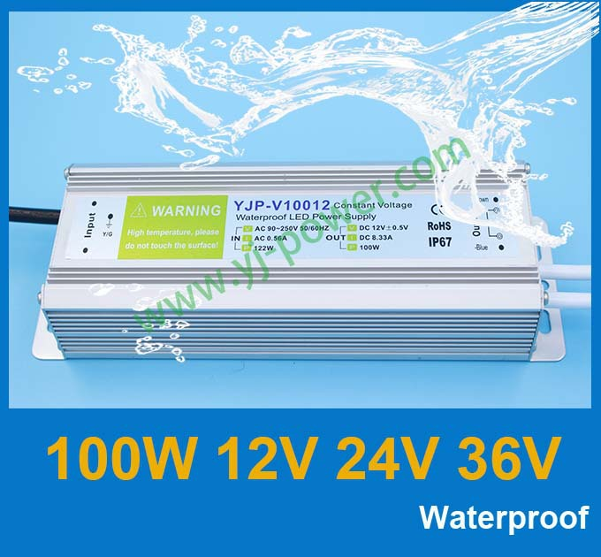 IP67 12v 100w switching power supply with CE Rohs certification, waterproof led street light power supply 12v 100w free shipping