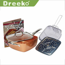 11inch aluminum Nonstick square deep copper fry pan with glass lid