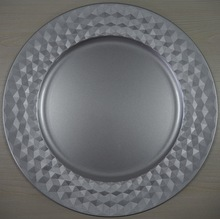 Customed Cheap Wedding Decoration Plastic silver charger plates