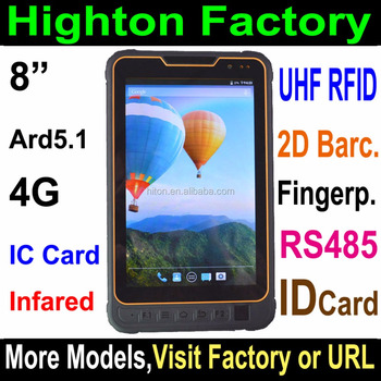 Android 8inch 1280*800 IPS 4G fingerprint industrial tablet pc and fingerprint industrial computer embedded pc with IP68 rugged