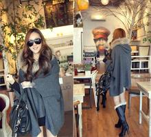 Winter And Autumn Outwear Coat Cloak Sweet Juniors Clock Hooded Thick Rabbit Fur Collar Woolen Cloak Jackets