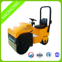 1 ton ride on vibratory double drum hydraulic road roller with comfortable seat