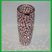 glass cylinder mirror candle holders/tall mosaic votive candle holders