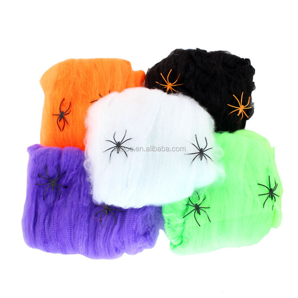 Spooky Halloween stretchable cotton spider web with spiders