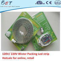 ETL CE ROHS approved white 300leds IP67 waterproof 5050 5m/roll led strip blister packing strisce led 220