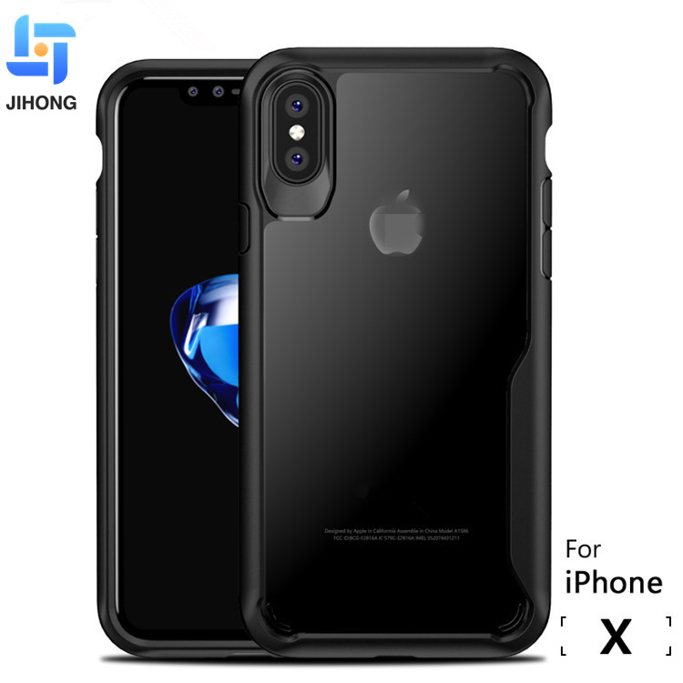 Best seller Custom Acrylic Bumper Case For iPhone x , Transparent Clear Hard TPU PC Phone back Cover For iPhone X Case