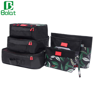 6 Set Packing Cubes Set Flora Travel Accessories Luggage Organizer with Laundry Bag Shoe Bag Wash Toiletry Kit