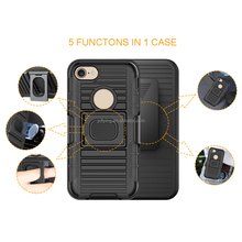 Custom Hard Back Plastic Rotation Belt Clip PC TPU Rugged Kickstand Heavy Duty Combo Cover for iphone 7 Shockproof Case