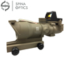 SPINA OPTICS Outdoor Sports ACOG 4X32 Tan Tactical Real Fiber Optic Red Illuminated w/ RMR Micro Red Dot Hunting Riflescope