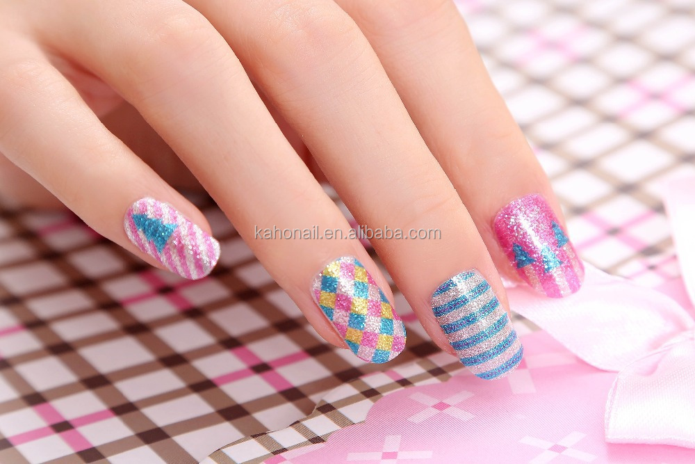 Kaho newest 24 designs nail sticker full cover nail wraps adhesive nail stickers
