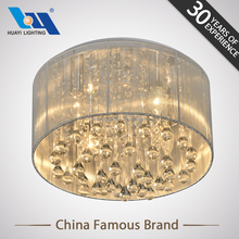 Lighting lamps white wired lampshade crystal chandelier light